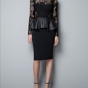 ZARA LACE PEPLUM DRESS